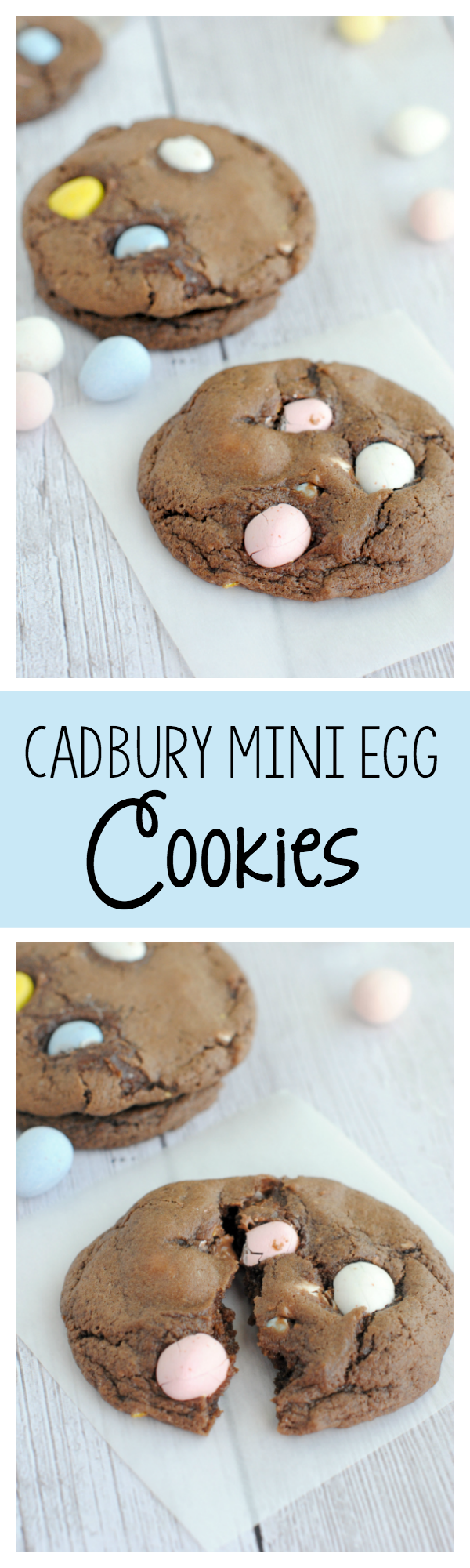 Easy and Amazing Cadbury Mini Egg Cookies Recipe. The BEST Easter dessert, these soft chocolate cookies with Cadbury mini eggs are going to have you drooling! #cookies #desserts #dessertrecipe #easter