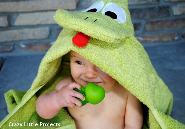Frog Hooded Towel Tutorial and Pattern from Crazy Little Projects