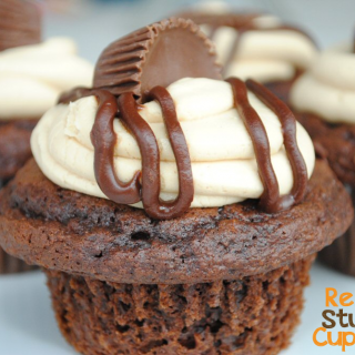 Reese's Peanut Butter Cup Stuffed Cupcakes