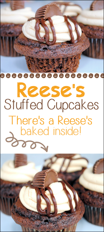 Reese's Peanut Butter Cup Recipe-A chocolate cupcake topped with peanut butter frosting, drizzled in chocolate and...there's a Reese's Peanut Butter Cup inside! These are a huge crowd pleaser! #cupcakes #dessert #reeses #peanutbutter #chocolate #peanutbutterchocolate