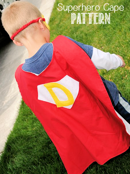 Superhero Cape Pattern-This easy to sew superhero cape pattern is going to be a huge hit with the kids! Make this cape for kids with their initial or their favorite superhero symbol in any colors they choose! #kids #sewing #sew #patterns