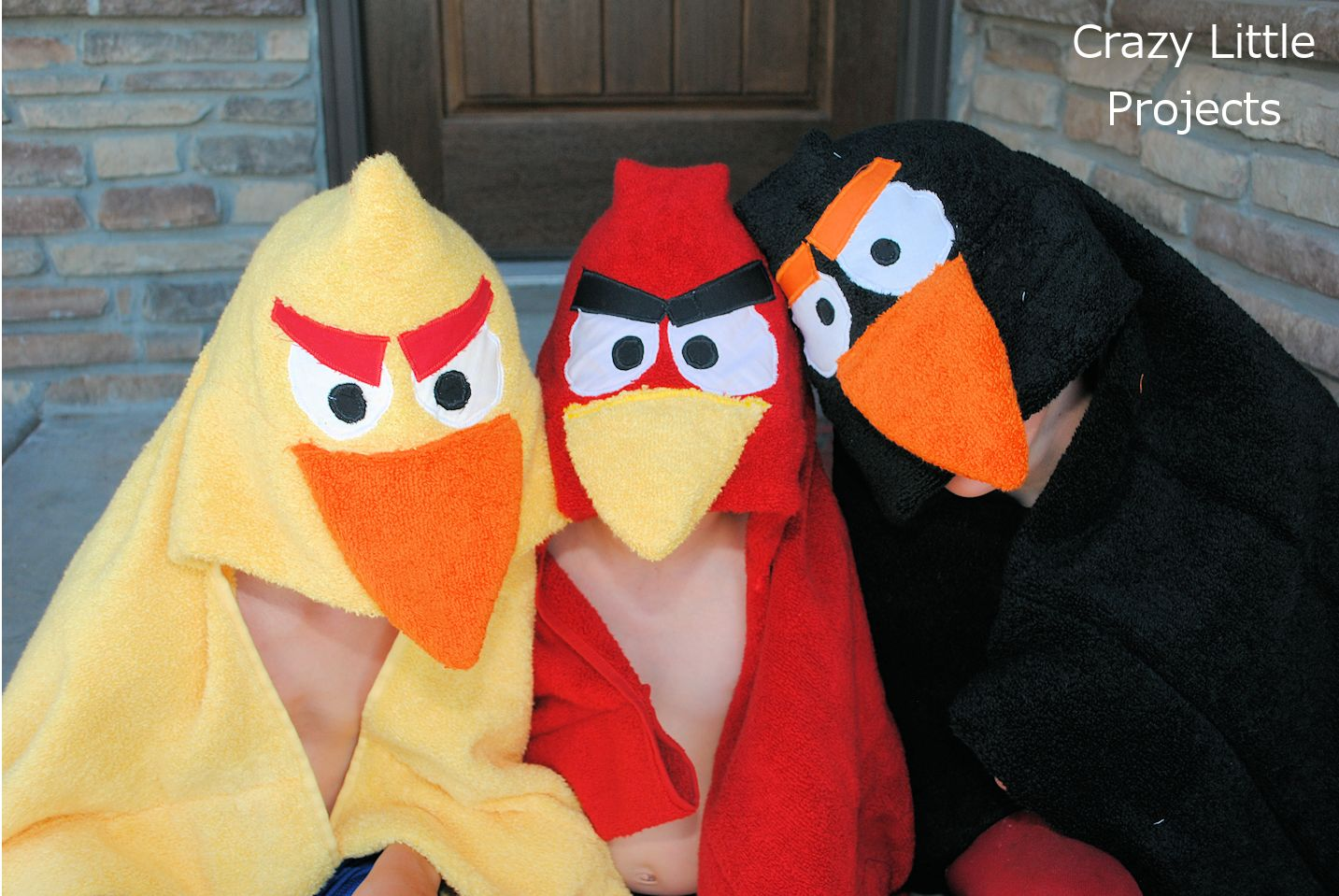 Make angry birds hooded towels for kids