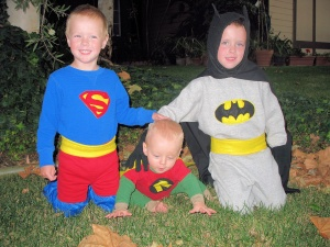 Batman, robin and superman costumes