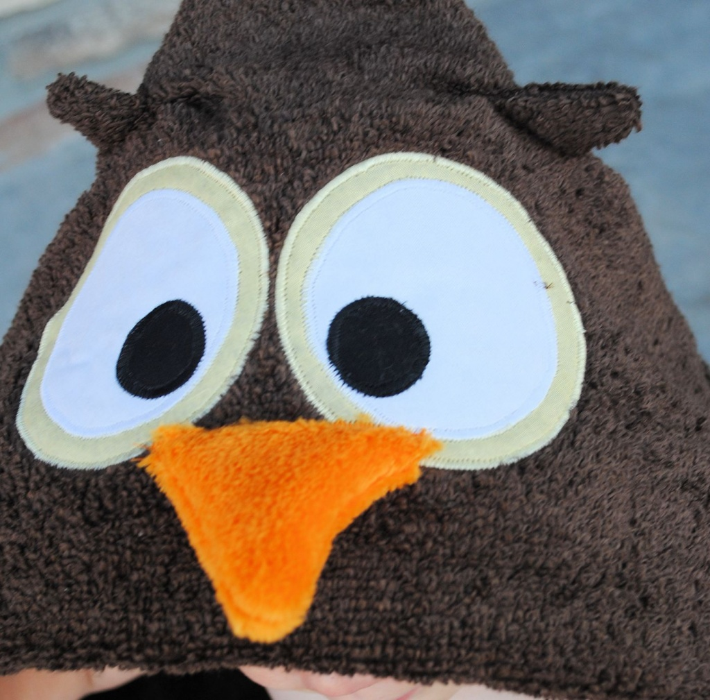 Make your own owl hooded towel