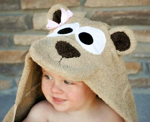 BROWN TEDDY BEAR Baby Hooded Towel Bath Time /& 5 Patterned Wash cloth Set