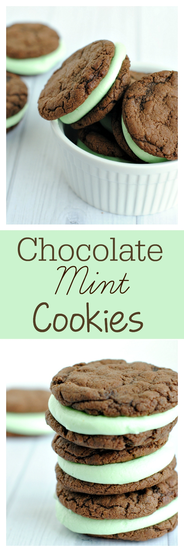 Chocolate peppermint cookies-These chocolate sandwich cookies are so yummy! They make a great Christmas cookie or a great cookie year round.