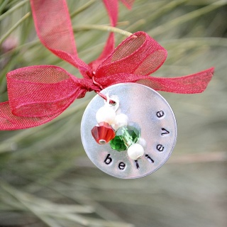 Hand Stamped Christmas Ornament