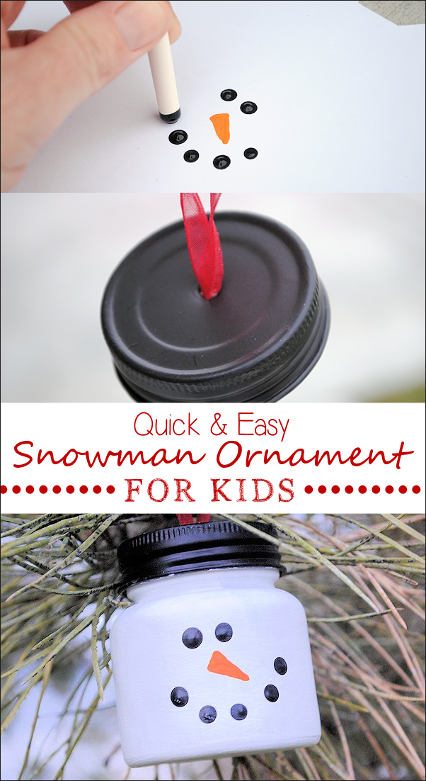 Easy Kids Ornament-A snowman from a baby food jar! A cute ornament to make with the kids for Christmas this year! #christmas #christmascrafts