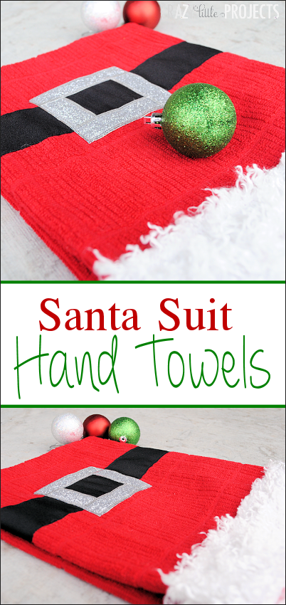 Santa Suit Hand Towels-Great Christmas Gift Idea for neighbors or friends. #christmas #chirstmasgifts