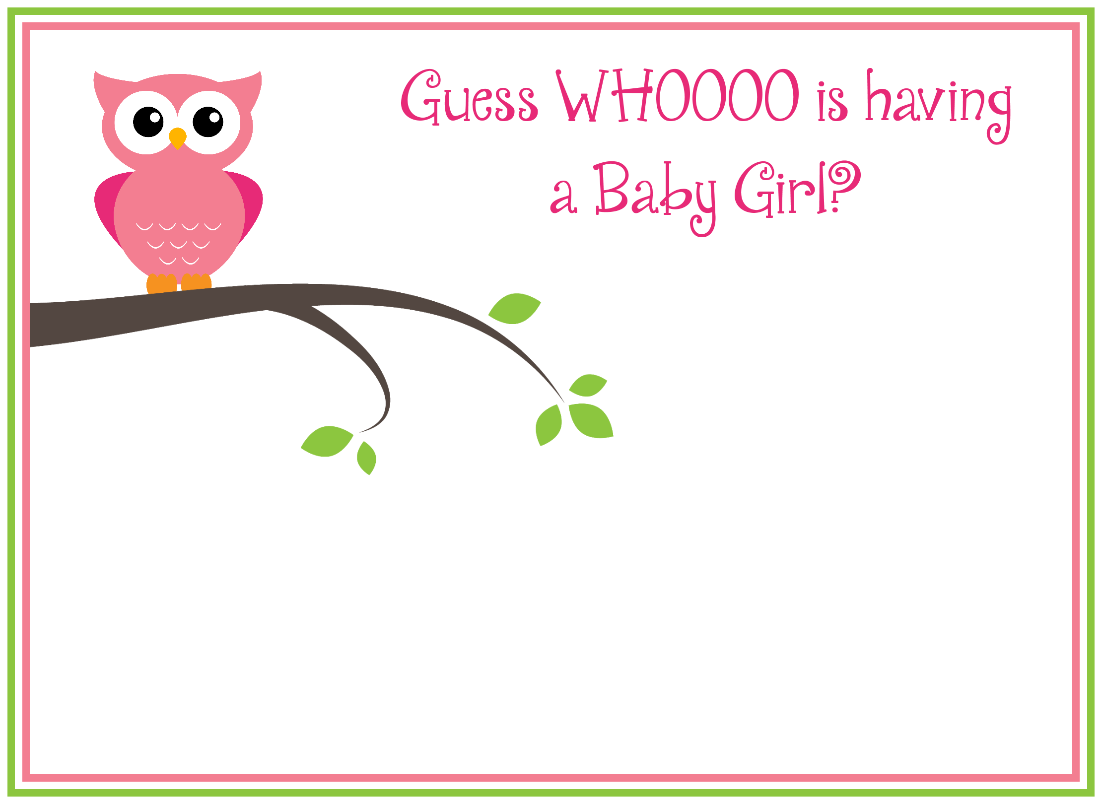 Free Printable Girl's Owl Baby Shower Invitations