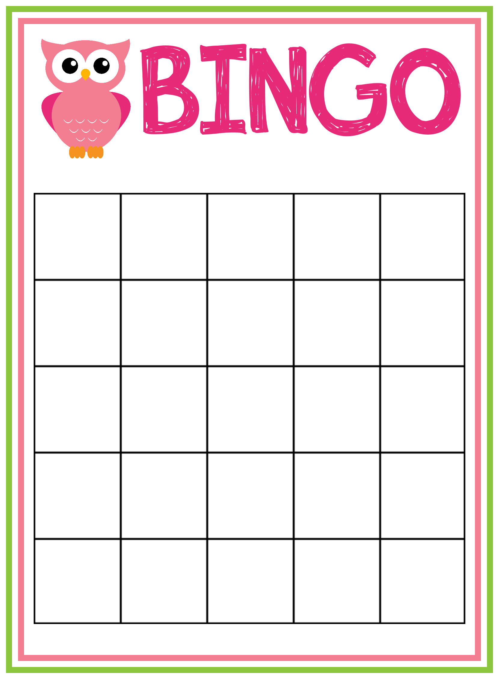 free baby bingo game template