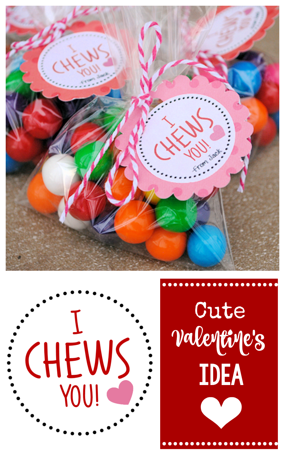 I Chews You Valentine-Add some cute gumballs and this tag and you've got a fun Valentine for the kids to give out! #valentinesday