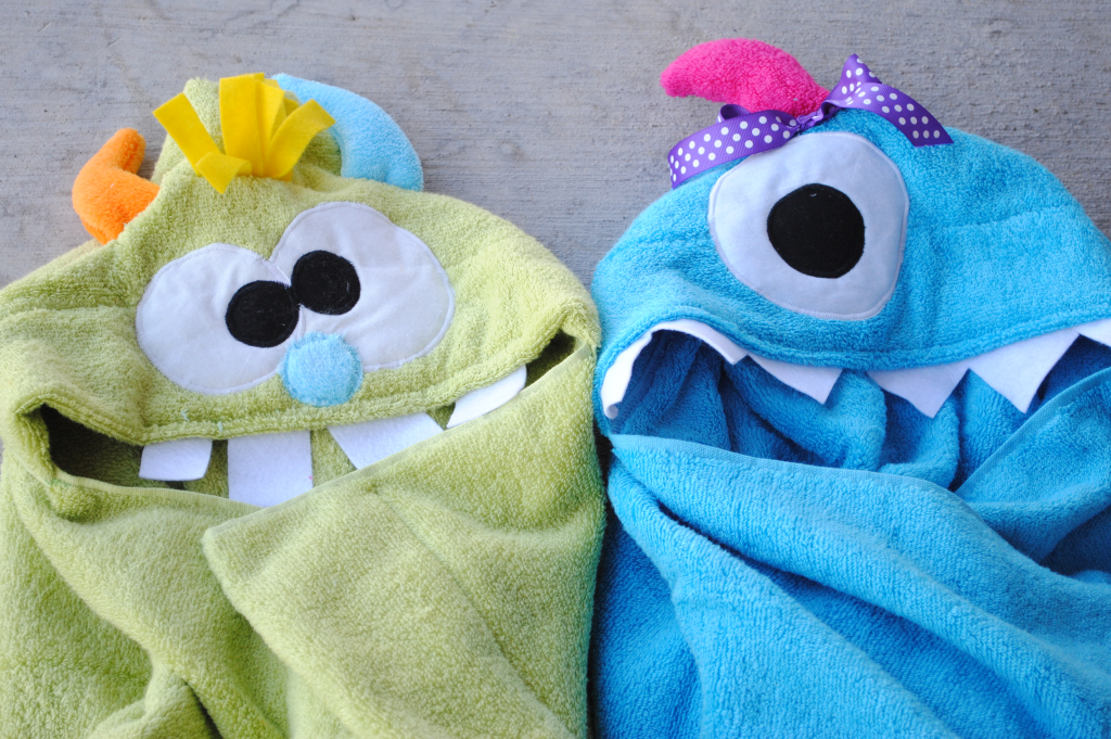 http://crazylittleprojects.com/2013/02/monster-hooded-towel-tutorial.html