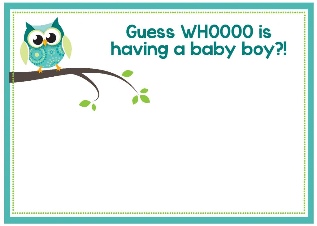 Boy Owl Baby Shower Invitations