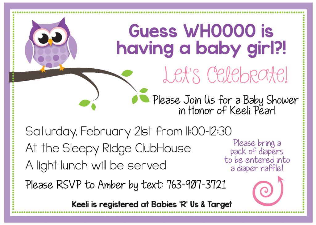 invites purple owl listing printed invitations pink shower and or il for printable girls gray chevron baby