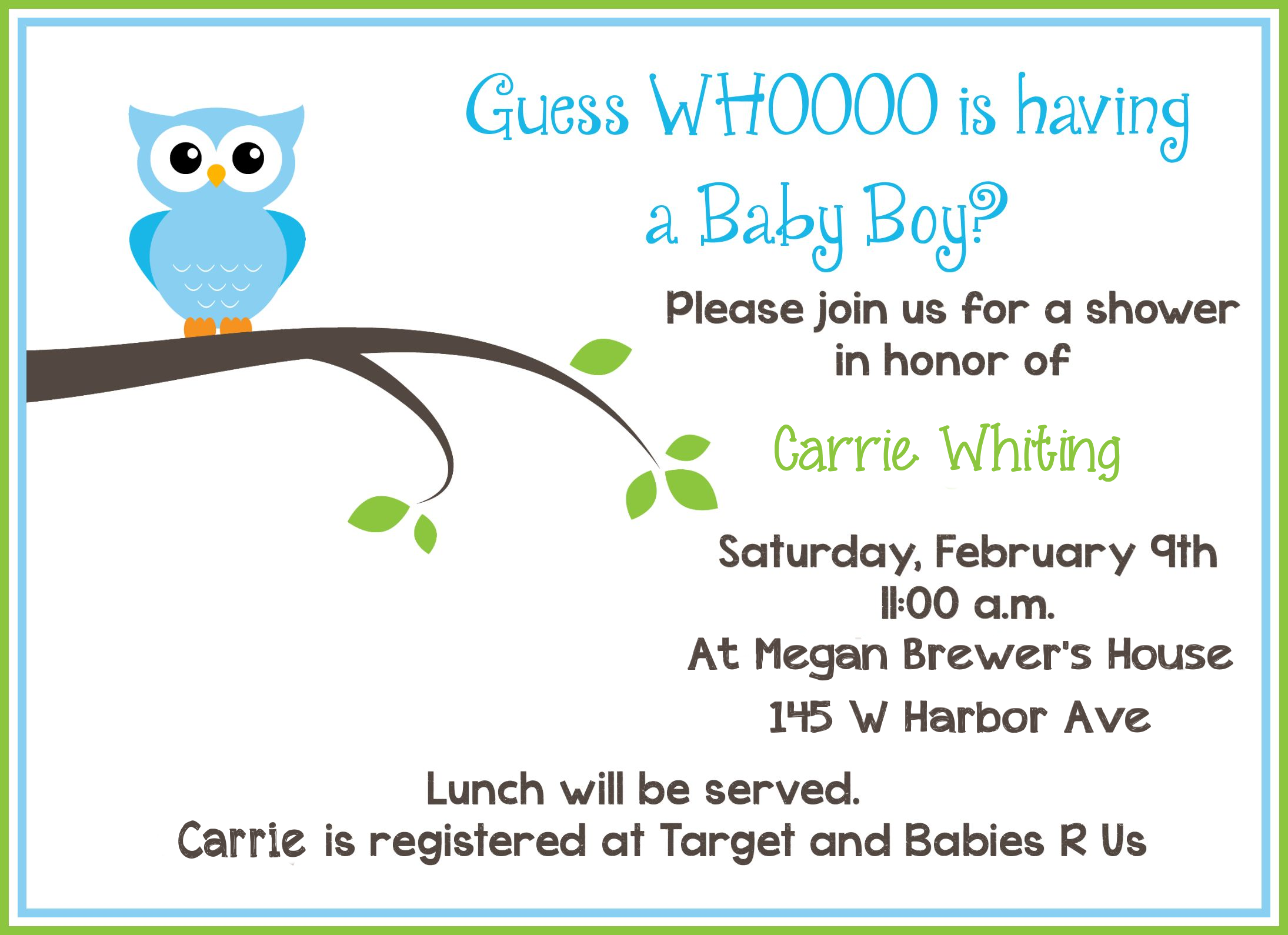 free printable owl baby shower invitations  sample