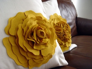 Fabric Scrap Flower Pillow