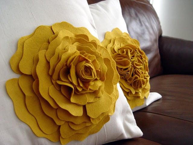 Fabric Scrap Flower Pillow