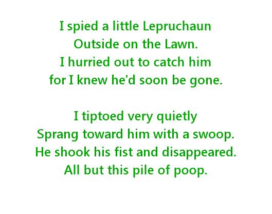 Free Printable Lepruchaun Poop Poem