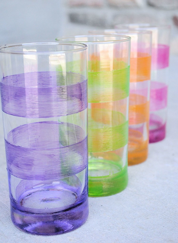 Rainbow Striped Lemonade Glasses