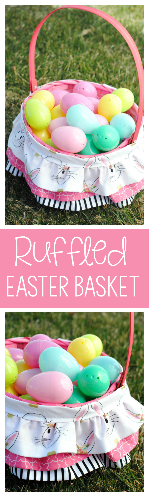 Cute Ruffled Easter Basket for Girls-Easy to Follow Tutorial to make a fun and creative Easter basket that the little girls will love! #easter #freepatterns #sew #easterbasket #easterbasketideas