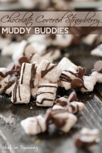 Chocolate Covered Strawberry Muddy Buddies