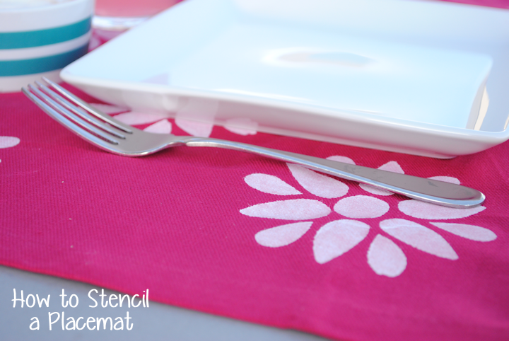 How to Stencil Place Mats: Quick and Easy by CrazyLittleProjects.com
