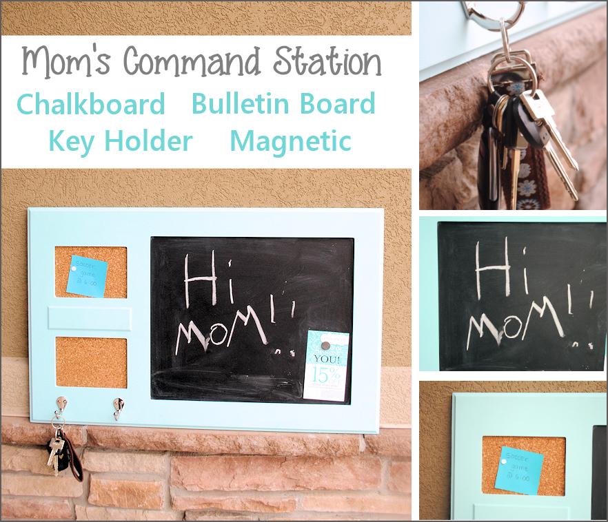 DIY Mom's Command Station: Chalkboard, Cork Board, Key Holder all in One