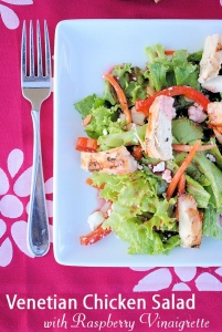 Venetian Chicken Salad with Raspberry Vinaigrette by CrazyLittleProjects.com