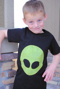 Kid's Alien Shirts with Glow in the Dark Paint