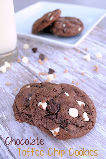 White Chip & Chocolate Toffee Cookie Recipe by CrazyLittleProjects.com