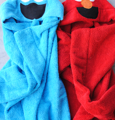 Cookie Monster & Elmo Hooded Towel