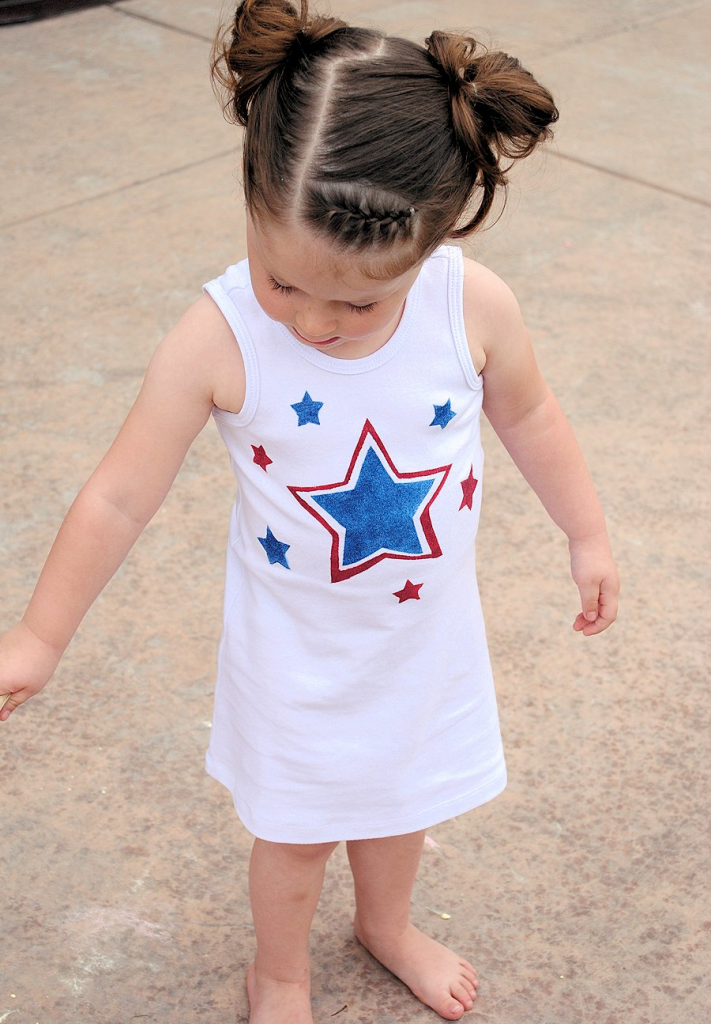 Stencil a Red, White and Blue dress for the 4th of July from Crazy Little Projects