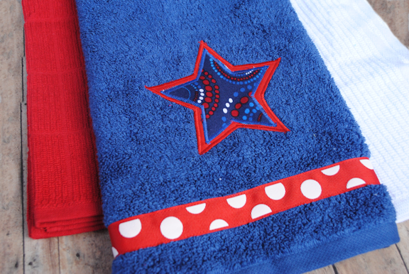 Th of july hand towels learn to applique crazy little projects