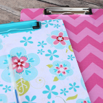 How to cover a clipboard with fabric and decopauge {it's easy!} by Crazy Little Projects