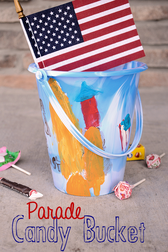 Decorate a bucket to collect candy at a parade