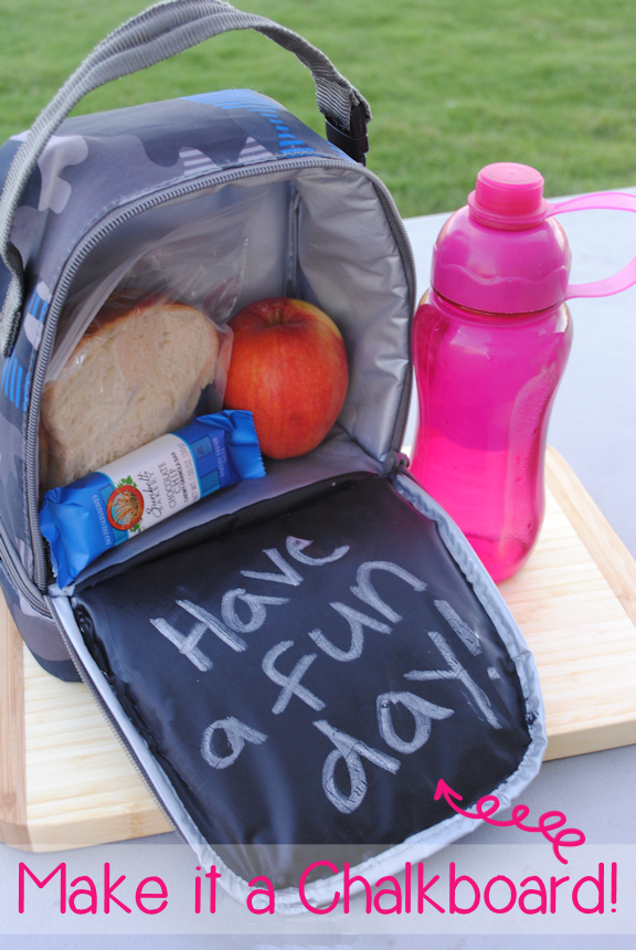 Add a chalkboard to your lunch box. It's fast and easy and your kids will love this! CrazyLittleProjects.com
