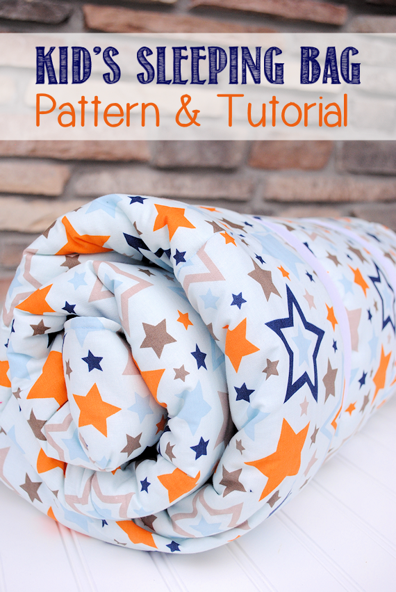 Kid's Sleeping Bag Pattern and Tutorial-Sew this cute sleeping bag for toddlers to big kids. Perfect for a sleepover at Grandma's or backyard camping.