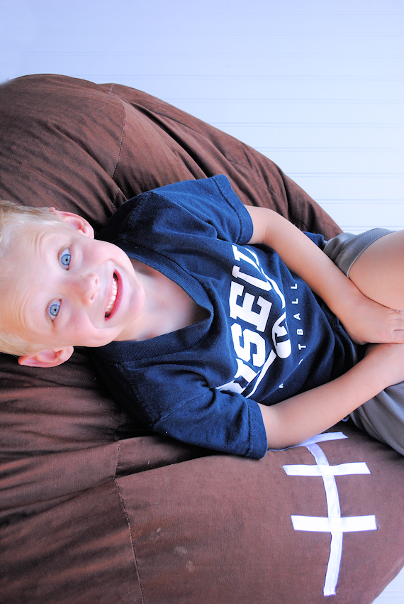 How to Make a Kid's Football Bean Bag Chair by Crazy Little Projects