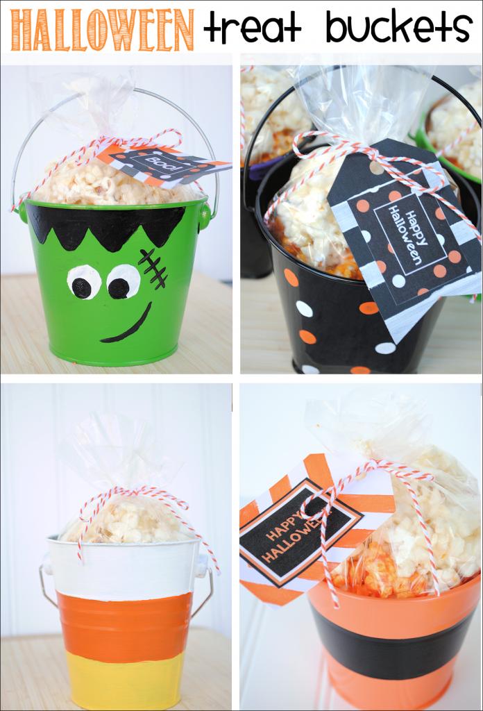 Halloween Treat Buckets & Free Printable Halloween Gift Tags