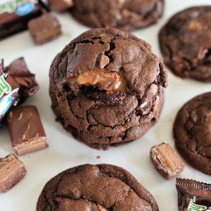 Milky Way Cookies Recipe: Chocolate cookies with bits of Milky Way for soft caramel goodness throughout.