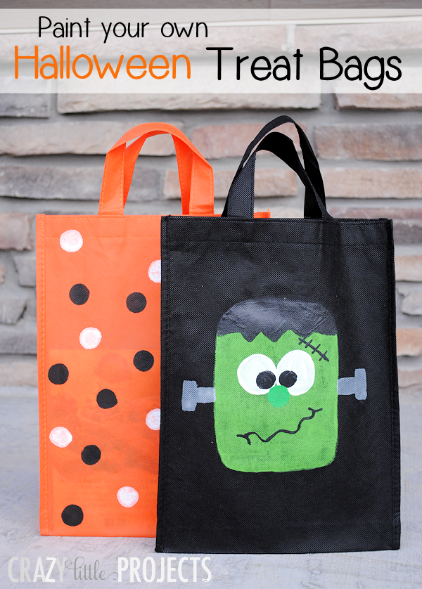 Paint Your Own Trick or Treat Bags - Crazy Little Projects