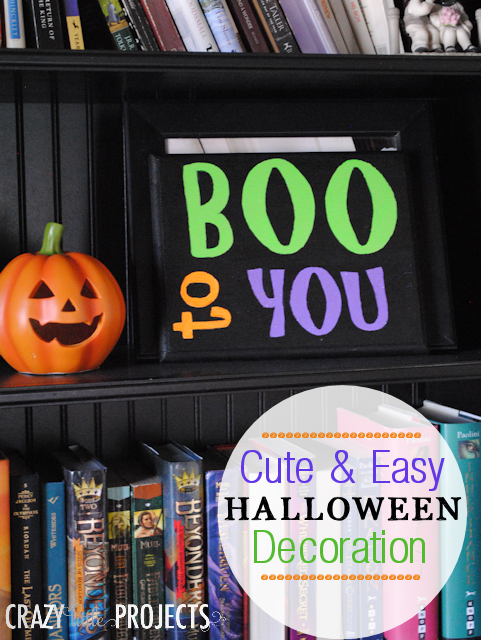 Cute and easy painted sign for Halloween by Crazy Little Projects