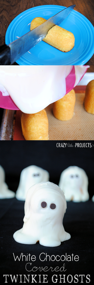 A great idea for kids parties at Halloween! Cut a Twinkie in half, pour white chocolate on it and you've got a ghost! by Crazy Little Projects #Halloween #ghost