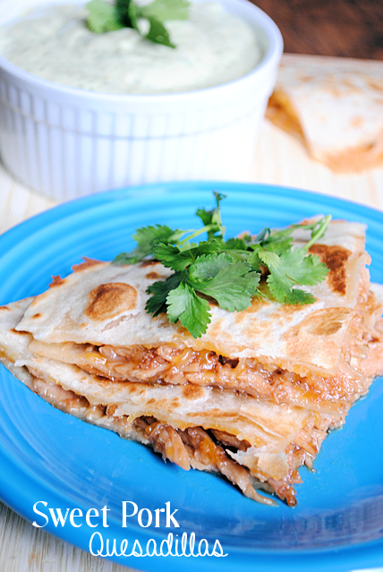 Sweet Pork Quesadillas Recipe~Easy slow cooker recipe that tastes amazing!