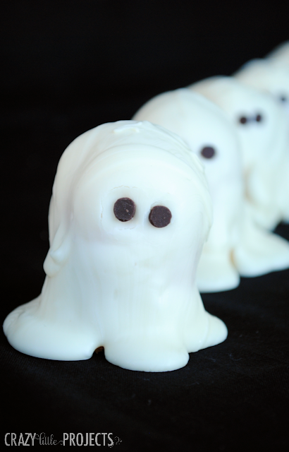 White chocolate covered ghosts by Crazy Little Projects