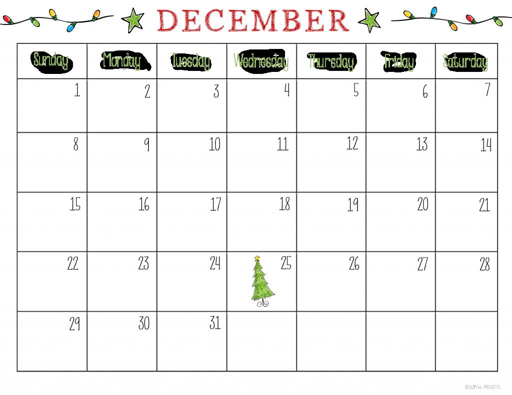 Free Printable December 2013 Calendar