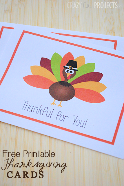 free printable thanksgiving thank you cards from crazy little