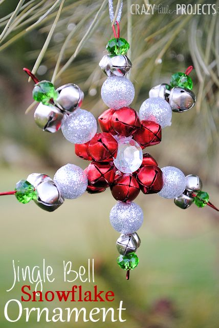 Jingle Bell Snowflake Ornaments-A cute and easy Christmas craft to make this year! #christmascraft #christmascrafts