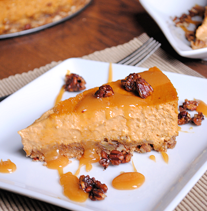Pumpkin Cheesecake Recipe with Caramel and Pecans